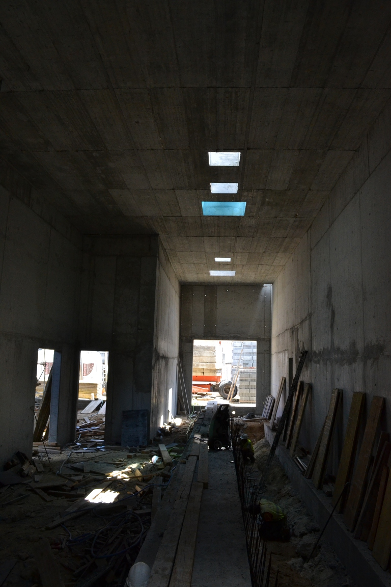 View of the future experimental hall with the shock-tube slab cradle
