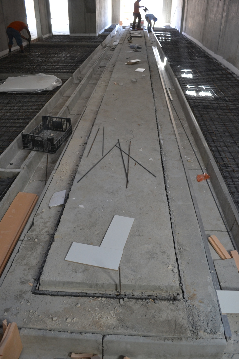 Completed Shock-Tube slab and gas/water and electricity/comms ground rails
