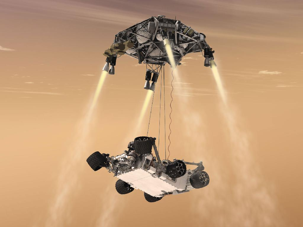 "Artist view of Curiosity's ""Sky Crane"" manoeuver"